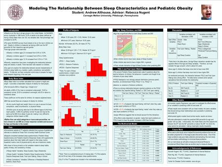 POSTER TEMPLATE BY: www.PosterPresentations.com Modeling The Relationship Between Sleep Characteristics and Pediatric Obesity Student: Andrew Althouse,
