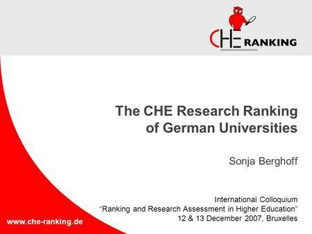Www.che Ranking.de The CHE Research Ranking Of German Universities Sonja  Berghoff
