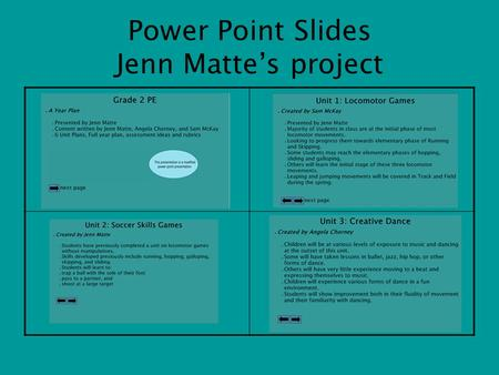 Power Point Slides Jenn Matte's project. Grade 2 PE A Year Plan Presented by Jenn Matte Content written by Jenn Matte, Angela Chorney and Sam McKay 6.
