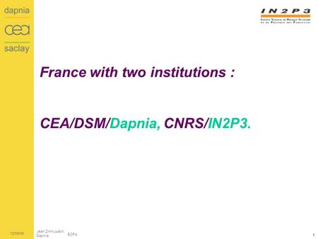 Jean Zinn-Justin, Dapnia ECFA 12/05/06 1 France with two institutions : CEA/DSM/Dapnia, CNRS/IN2P3.
