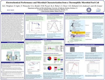 Electrochemical Performance and Microbial Characterization from a Thermophilic Microbial Fuel Cell K.C. Wrighton 1, P. Agbo 1, F. Warnecke 3, E.L. Brodie.