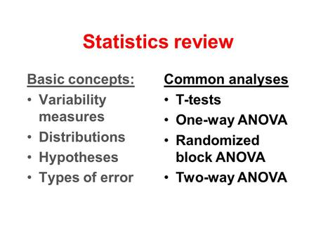 Statistics review Basic concepts: Variability measures Distributions Hypotheses Types of error Common analyses T-tests One-way ANOVA Randomized block ANOVA.
