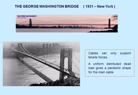 THE GEORGE WASHINGTON BRIDGE ( 1931 – New York ) Cables can only support tensile forces. A uniform distributed dead load gives a parabolic shape for the.
