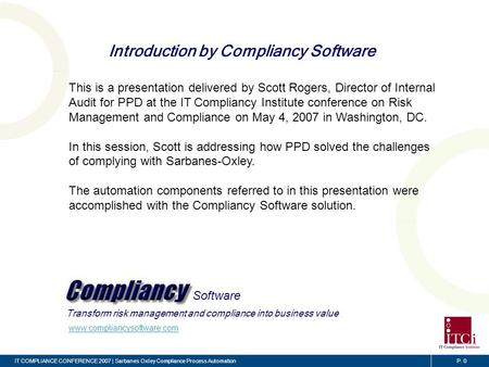 Sarbanes-Oxley Compliance Process Automation