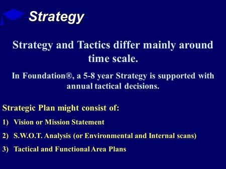 Strategy Strategic Plan might consist of: 1)Vision or Mission Statement 2)S.W.O.T. Analysis (or Environmental and Internal scans) 3)Tactical and Functional.