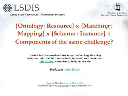 {Ontology: Resource} x {Matching : Mapping} x {Schema : Instance} :: Components of the same challenge? Invited Talk, International Workshop on Ontology.