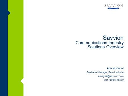Savvion Communications Industry Solutions Overview