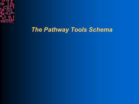 The Pathway Tools Schema. SRI International Bioinformatics Motivations for Understanding Schema Pathway Tools visualizations and analyses depend upon.