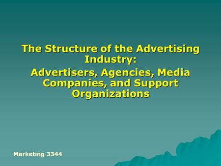 The Structure of the Advertising Industry: