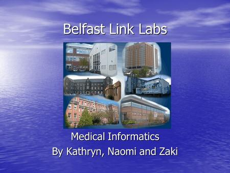 Belfast Link Labs Medical Informatics By Kathryn, Naomi and Zaki.