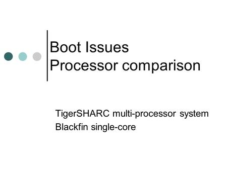 Boot Issues Processor comparison TigerSHARC multi-processor system Blackfin single-core.