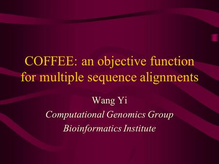 COFFEE: an objective function for multiple sequence alignments