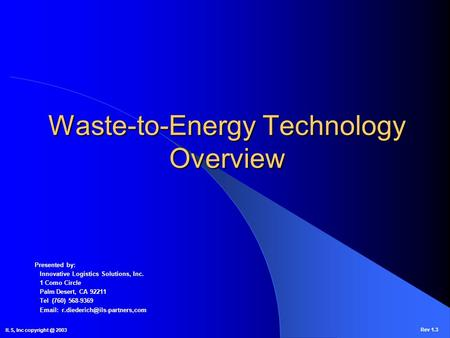 Waste-to-Energy Technology Overview