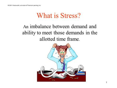 © 2001 Wadsworth, a division of Thomson Learning, Inc 1 What is <strong>Stress</strong>? An imbalance between demand <strong>and</strong> ability to meet those demands in the allotted <strong>time</strong>.