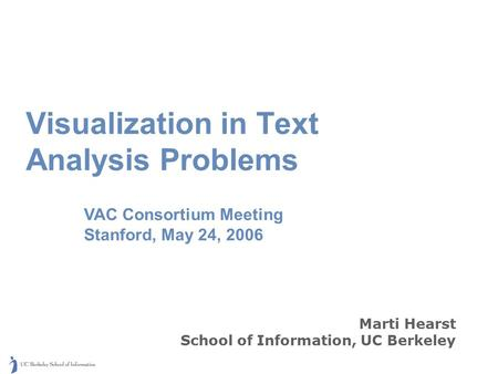 Marti Hearst School of Information, UC Berkeley Visualization in Text Analysis Problems VAC Consortium Meeting Stanford, May 24, 2006.