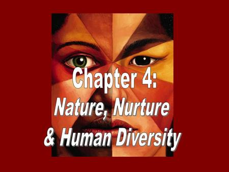 Chapter 4: Nature, Nurture & Human Diversity.