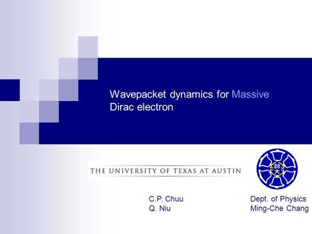 Wavepacket dynamics for Massive Dirac electron