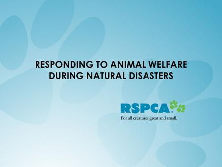 RESPONDING TO ANIMAL WELFARE DURING NATURAL DISASTERS.