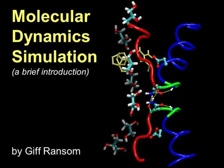 Molecular Dynamics Simulation (a brief introduction) by Giff Ransom.