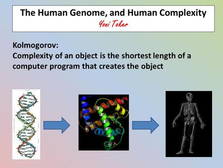 Kolmogorov: Complexity of an object is the shortest length of a computer program that creates the object The Human Genome, and Human Complexity Yoni Toker.