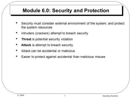 Module 6.0: Security and Protection