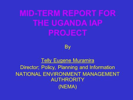 MID-TERM REPORT FOR THE UGANDA IAP PROJECT By Telly Eugene Muramira Director; Policy, Planning and Information NATIONAL ENVIRONMENT MANAGEMENT AUTHRORITY.