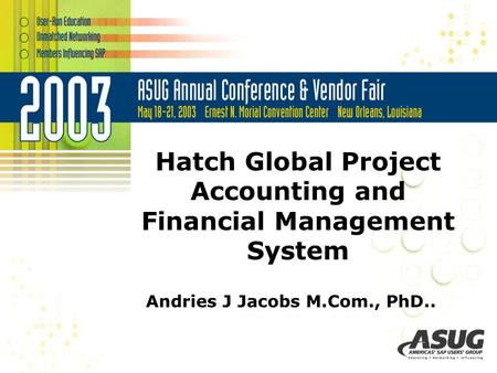 Hatch Global Project Accounting and Financial Management System