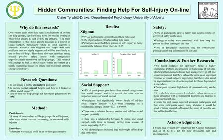 Why do this research? Over recent years there has been a proliferation of on-line self-help groups, yet there have been few studies looking at what these.