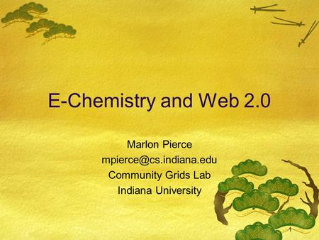1 E-Chemistry and Web 2.0 Marlon Pierce Community Grids Lab Indiana University.