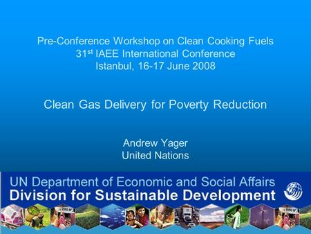 Pre-Conference Workshop on Clean Cooking Fuels 31 st IAEE International Conference Istanbul, 16-17 June 2008 Clean Gas Delivery for Poverty Reduction Andrew.