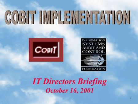 1 IT Directors Briefing October 16, 2001 2  Deputy State Auditor, MIS & IT Audit, Commonwealth of Massachusetts  Adjunct faculty at Bentley College.