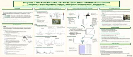 Integration of HPLC-FTICR MS and HPLC-QIT MS 2 to Achieve Enhanced Proteome Characterization Chongle Pan 1,2,3 Nathan VerBerkmoes 1,3 Praveen Chandramohan.