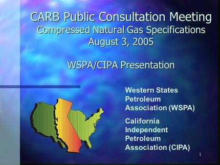 1 CARB Public Consultation Meeting Compressed Natural Gas Specifications August 3, 2005 WSPA/CIPA Presentation Western States Petroleum Association (WSPA)