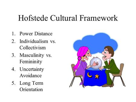 Hofstede Cultural Framework 1.Power Distance 2.Individualism vs. Collectivism 3.Masculinity vs. Femininity 4.Uncertainty Avoidance 5.Long Term Orientation.