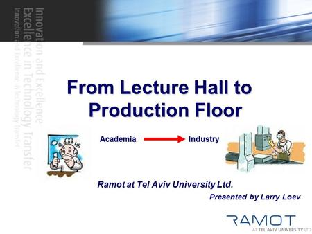 From Lecture Hall to Production Floor Academia Industry Ramot at Tel Aviv University Ltd. Presented by Larry Loev.