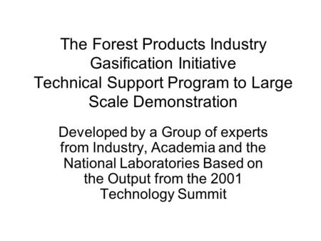 The Forest Products Industry Gasification Initiative Technical Support Program to Large Scale Demonstration Developed by a Group of experts from Industry,