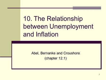 10. The Relationship between Unemployment and Inflation