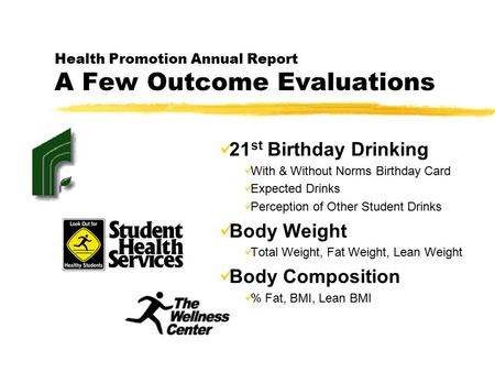 Health Promotion Annual Report A Few Outcome Evaluations 21 st Birthday Drinking With & Without Norms Birthday Card Expected Drinks Perception of Other.