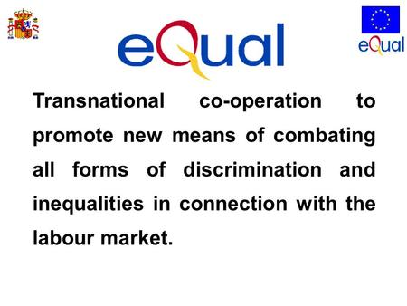 Transnational co-operation to promote new means of combating all forms of discrimination and inequalities in connection with the labour market.