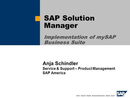 SAP Solution <strong>Manager</strong> Implementation of mySAP Business Suite