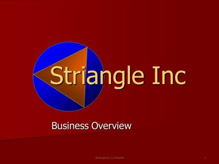 Striangle Inc. Confidential 1 Striangle Inc Business Overview.
