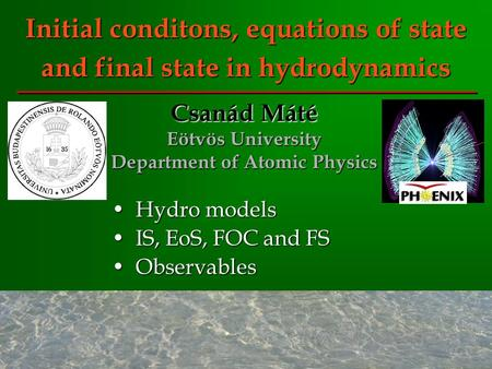 Initial conditons, equations of state and final state in hydrodynamics Hydro modelsHydro models IS, EoS, FOC and FSIS, EoS, FOC and FS ObservablesObservables.
