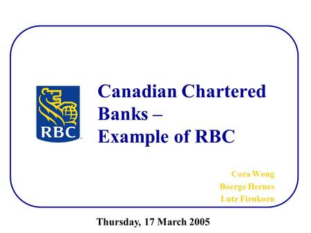 Canadian Chartered Banks – Example of RBC