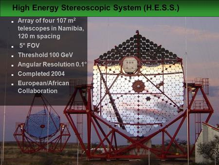  Jim Hinton 2006 High Energy Stereoscopic System (H.E.S.S.)  Array of four 107 m 2 telescopes in Namibia, 120 m spacing  5° FOV  Threshold 100 GeV.