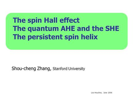 The quantum AHE and the SHE The persistent spin helix