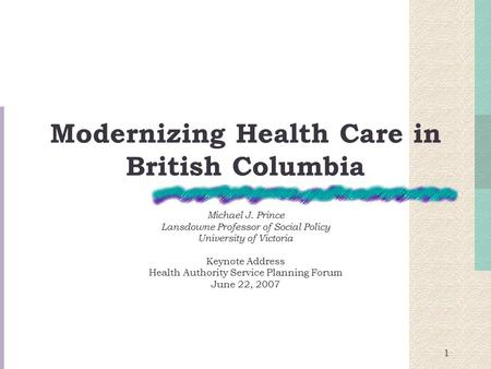 Modernizing Health Care in British Columbia