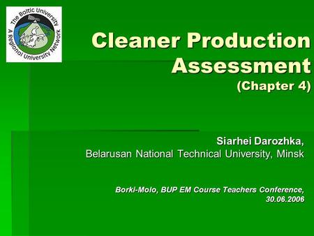 Cleaner Production Assessment (Chapter 4)