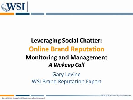 Leveraging Social Chatter: Online Brand Reputation Monitoring and Management A Wakeup Call Gary Levine WSI Brand Reputation Expert.