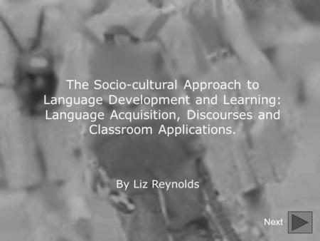 The Socio-cultural Approach to Language Development and Learning: Language Acquisition, Discourses and Classroom Applications. By Liz Reynolds Next.