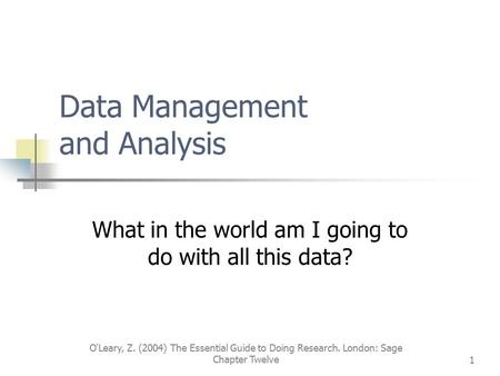 Data Management and Analysis